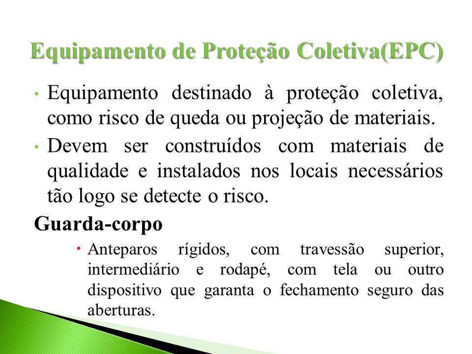 Equipamento destinado à proteção coletiva, como risco de queda ou projeção de materiais.