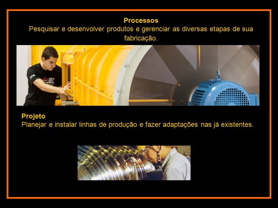 Processos Pesquisar e desenvolver produtos e gerenciar as diversas etapas de sua fabricação.
