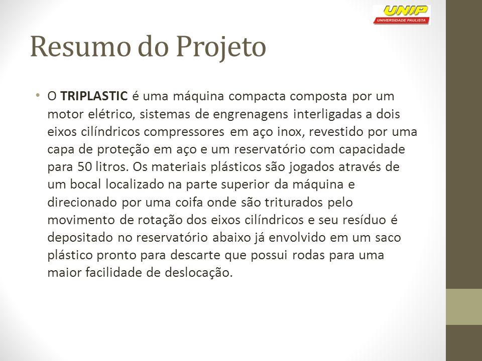 Resumo do Projeto O TRIPLASTIC é uma máquina compacta composta por um motor elétrico, sistemas de engrenagens interligadas a dois eixos cilíndricos co