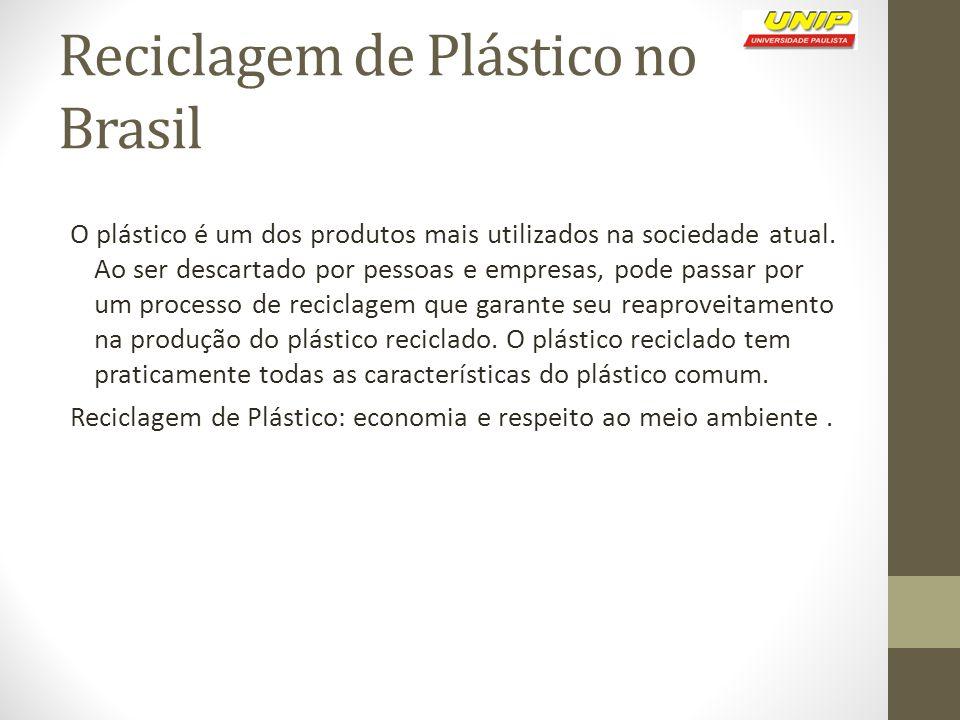 Reciclagem de Plástico no Brasil O plástico é um dos produtos mais utilizados na sociedade atual. Ao ser descartado por pessoas e empresas, pode passa