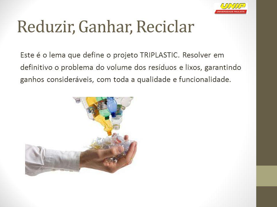 Reduzir, Ganhar, Reciclar Este é o lema que define o projeto TRIPLASTIC. Resolver em definitivo o problema do volume dos resíduos e lixos, garantindo