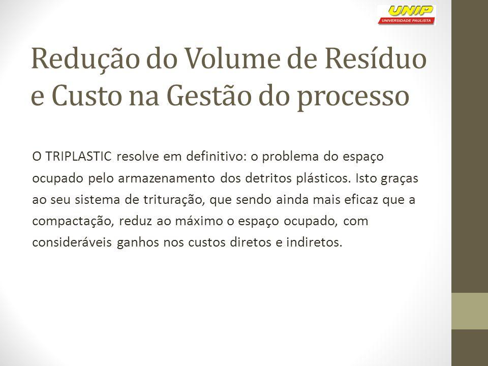 Redução do Volume de Resíduo e Custo na Gestão do processo O TRIPLASTIC resolve em definitivo: o problema do espaço ocupado pelo armazenamento dos detritos plásticos.
