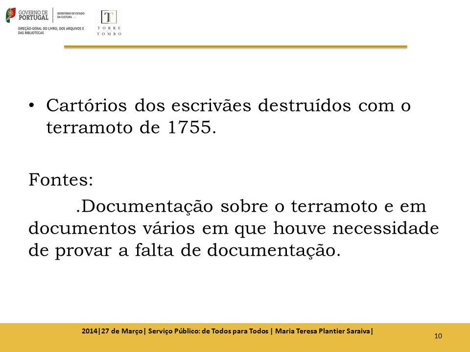 Cartórios dos escrivães destruídos com o terramoto de 1755. Fontes:.Documentação sobre o terramoto e em documentos vários em que houve necessidade de