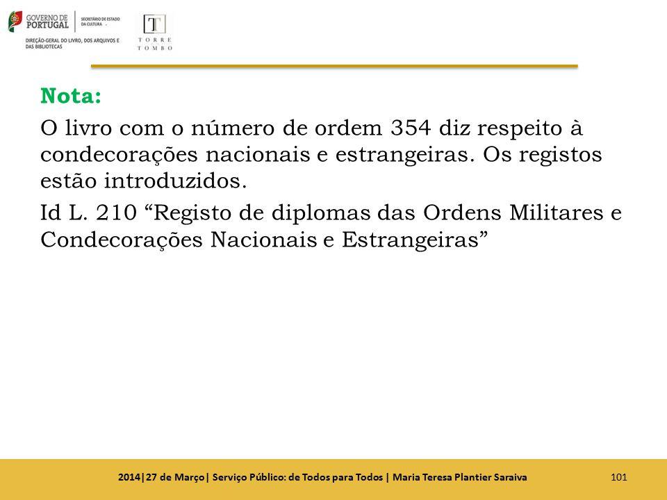 """Nota: O livro com o número de ordem 354 diz respeito à condecorações nacionais e estrangeiras. Os registos estão introduzidos. Id L. 210 """"Registo de d"""