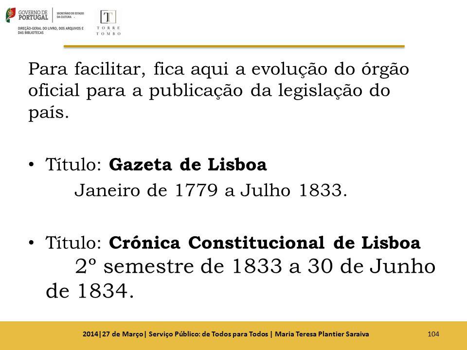 Para facilitar, fica aqui a evolução do órgão oficial para a publicação da legislação do país. Título: Gazeta de Lisboa Janeiro de 1779 a Julho 1833.