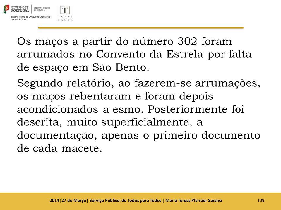 Os maços a partir do número 302 foram arrumados no Convento da Estrela por falta de espaço em São Bento. Segundo relatório, ao fazerem-se arrumações,