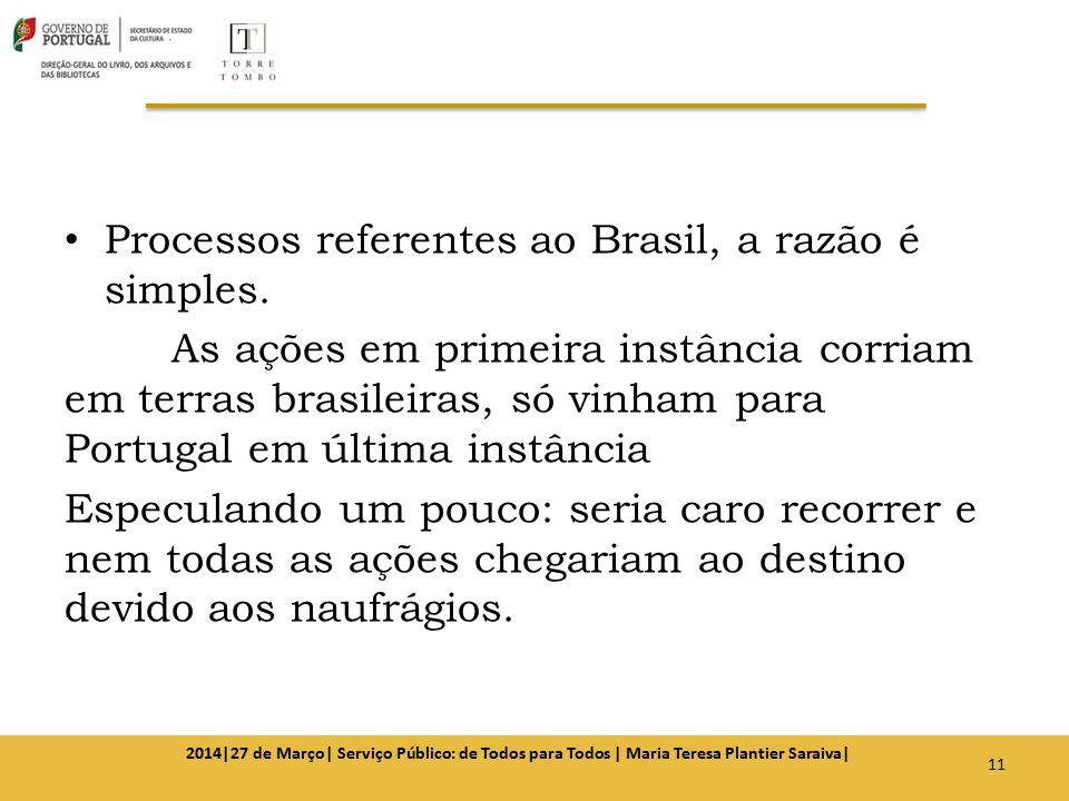 Processos referentes ao Brasil, a razão é simples. As ações em primeira instância corriam em terras brasileiras, só vinham para Portugal em última ins