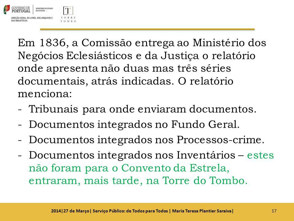 Em 1836, a Comissão entrega ao Ministério dos Negócios Eclesiásticos e da Justiça o relatório onde apresenta não duas mas três séries documentais, atr
