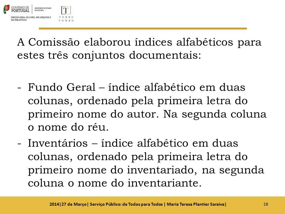 A Comissão elaborou índices alfabéticos para estes três conjuntos documentais: -Fundo Geral – índice alfabético em duas colunas, ordenado pela primeir