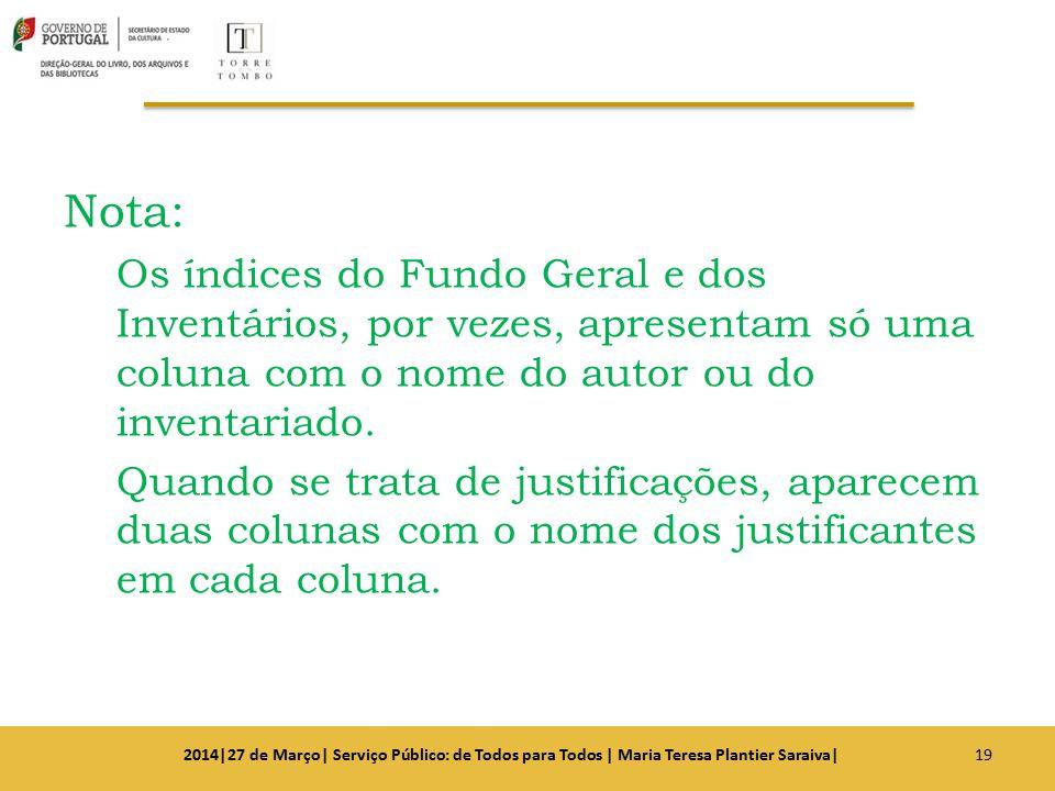 Nota: Os índices do Fundo Geral e dos Inventários, por vezes, apresentam só uma coluna com o nome do autor ou do inventariado. Quando se trata de just