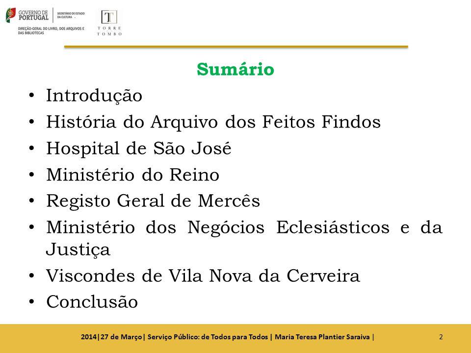 Sumário Introdução História do Arquivo dos Feitos Findos Hospital de São José Ministério do Reino Registo Geral de Mercês Ministério dos Negócios Ecle