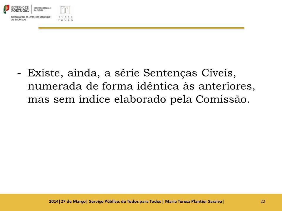 -Existe, ainda, a série Sentenças Cíveis, numerada de forma idêntica às anteriores, mas sem índice elaborado pela Comissão. 222014|27 de Março| Serviç