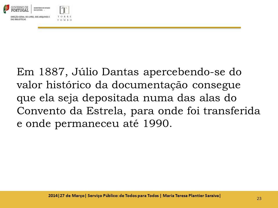 Em 1887, Júlio Dantas apercebendo-se do valor histórico da documentação consegue que ela seja depositada numa das alas do Convento da Estrela, para on