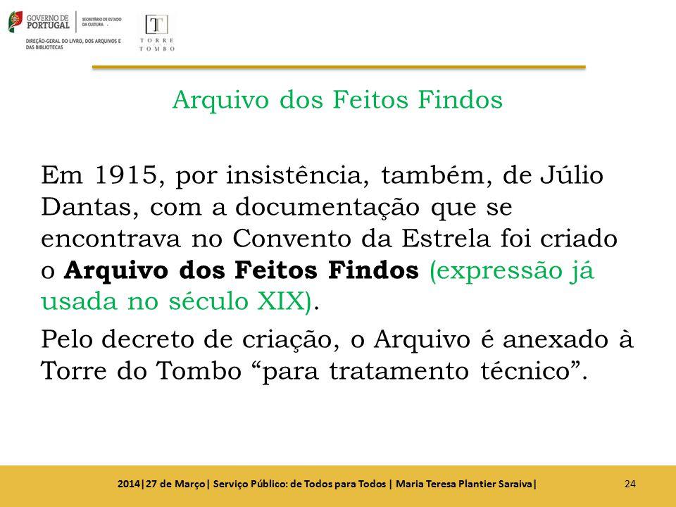 Arquivo dos Feitos Findos Em 1915, por insistência, também, de Júlio Dantas, com a documentação que se encontrava no Convento da Estrela foi criado o
