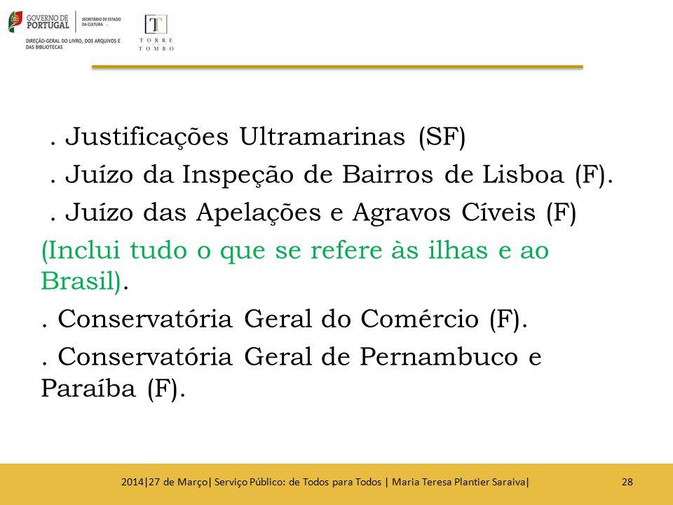 . Justificações Ultramarinas (SF). Juízo da Inspeção de Bairros de Lisboa (F).. Juízo das Apelações e Agravos Cíveis (F) (Inclui tudo o que se refere