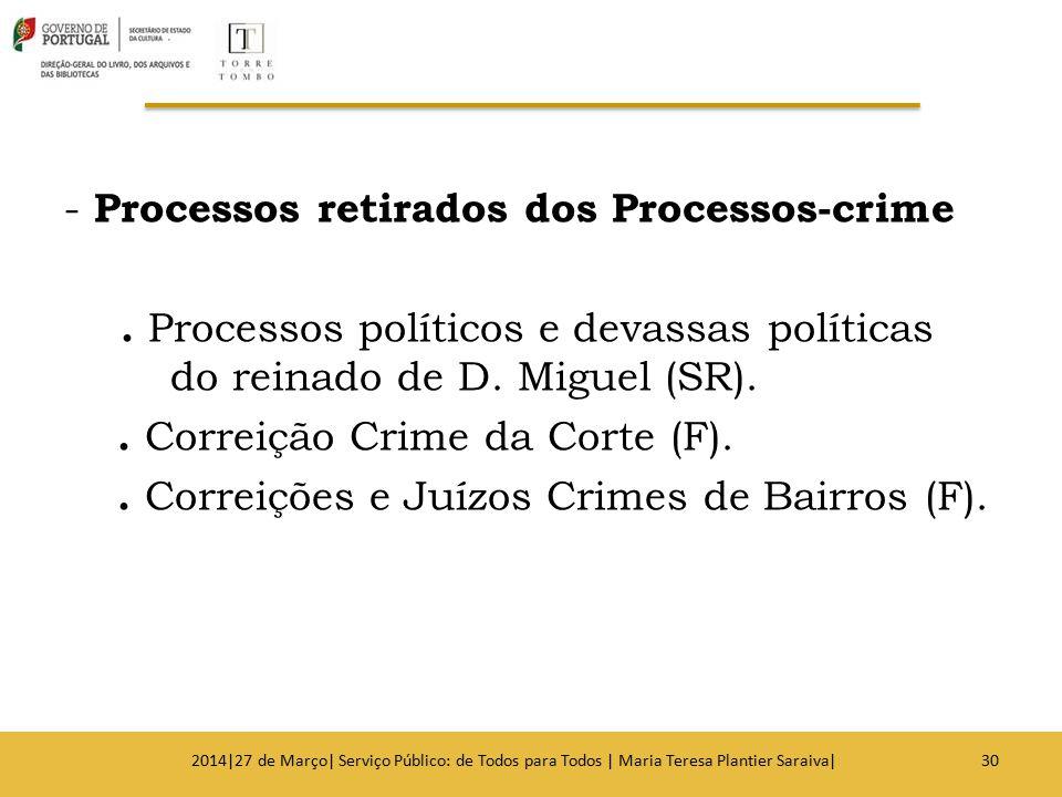 - Processos retirados dos Processos-crime. Processos políticos e devassas políticas do reinado de D. Miguel (SR).. Correição Crime da Corte (F).. Corr