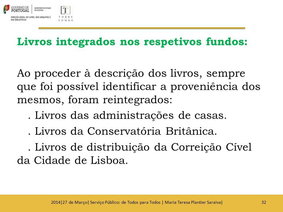Livros integrados nos respetivos fundos: Ao proceder à descrição dos livros, sempre que foi possível identificar a proveniência dos mesmos, foram rein