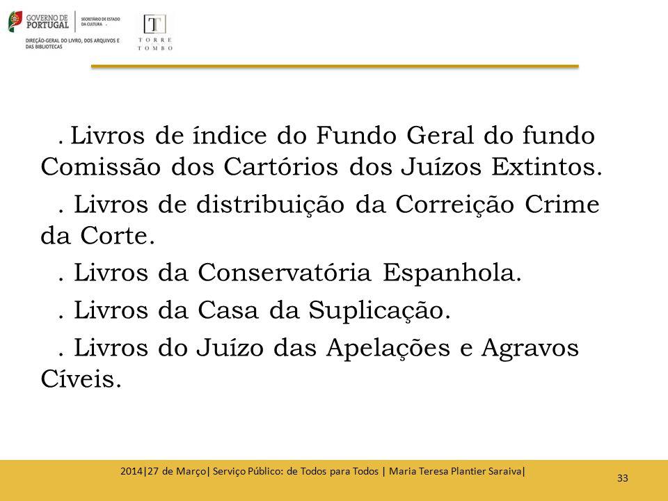 . Livros de índice do Fundo Geral do fundo Comissão dos Cartórios dos Juízos Extintos.. Livros de distribuição da Correição Crime da Corte.. Livros da