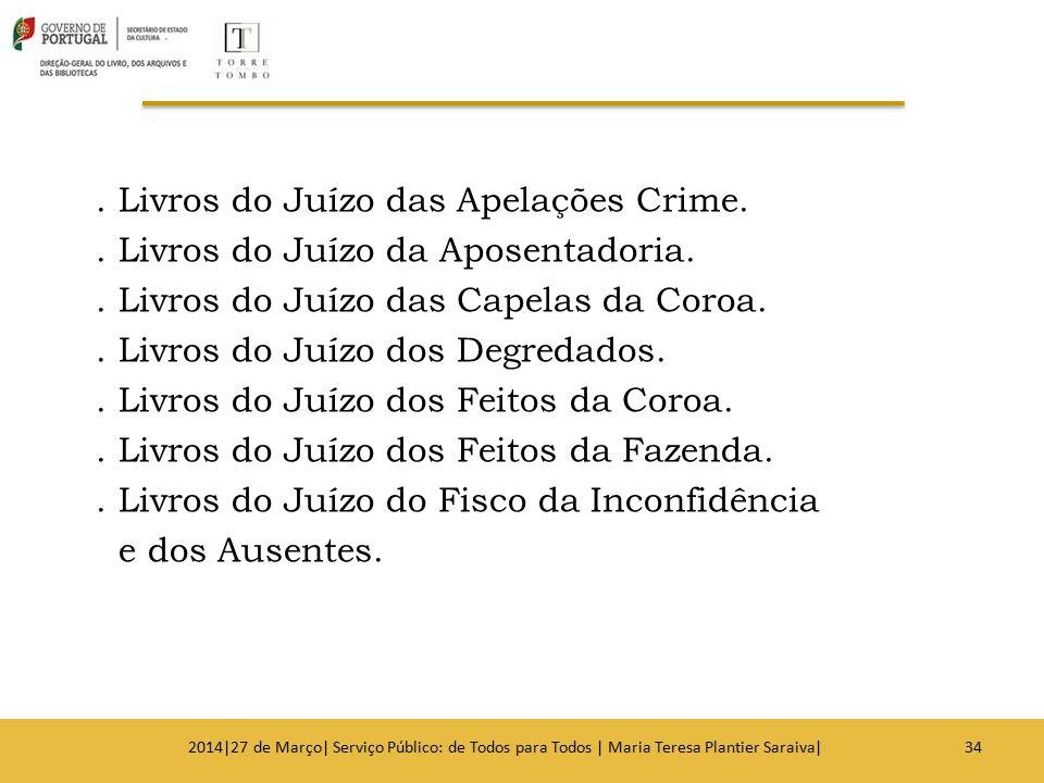 . Livros do Juízo das Apelações Crime.. Livros do Juízo da Aposentadoria.. Livros do Juízo das Capelas da Coroa.. Livros do Juízo dos Degredados.. Liv