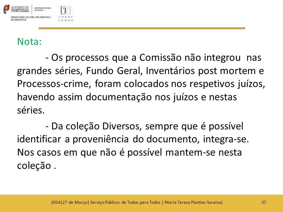 Nota: - Os processos que a Comissão não integrou nas grandes séries, Fundo Geral, Inventários post mortem e Processos-crime, foram colocados nos respe