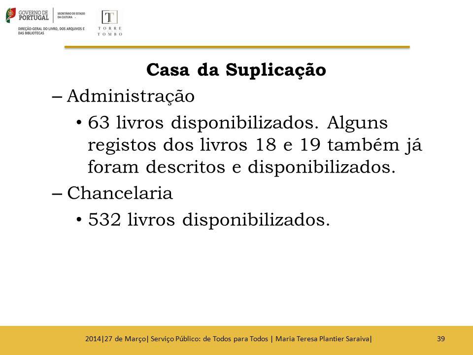 Casa da Suplicação – Administração 63 livros disponibilizados. Alguns registos dos livros 18 e 19 também já foram descritos e disponibilizados. – Chan