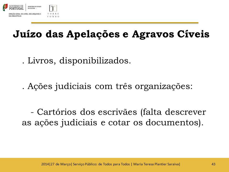 Juízo das Apelações e Agravos Cíveis. Livros, disponibilizados.. Ações judiciais com três organizações: - Cartórios dos escrivães (falta descrever as