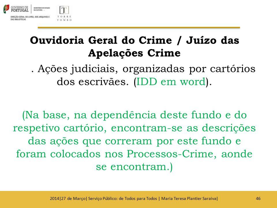 Ouvidoria Geral do Crime / Juízo das Apelações Crime. Ações judiciais, organizadas por cartórios dos escrivães. (IDD em word). (Na base, na dependênci