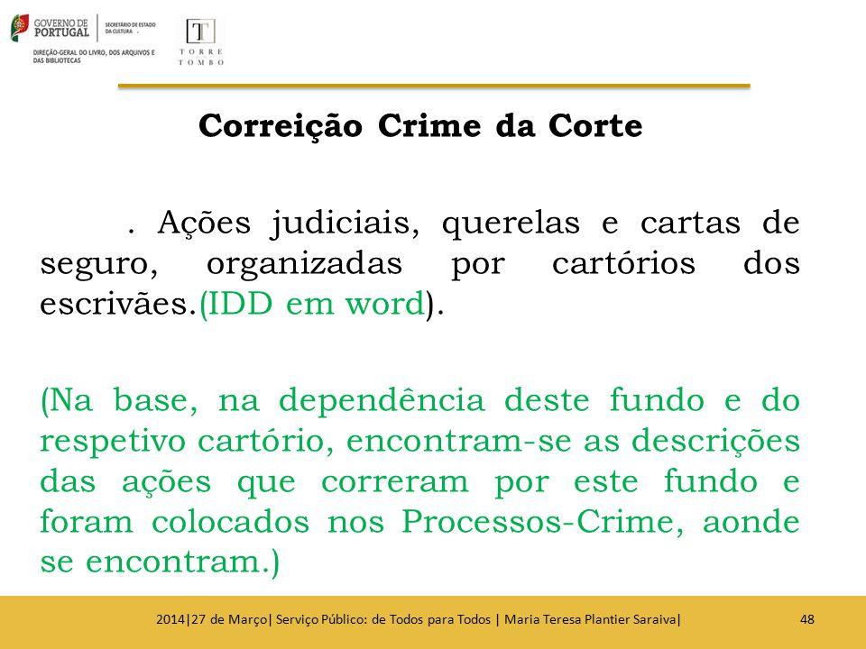 Correição Crime da Corte. Ações judiciais, querelas e cartas de seguro, organizadas por cartórios dos escrivães.(IDD em word). (Na base, na dependênci