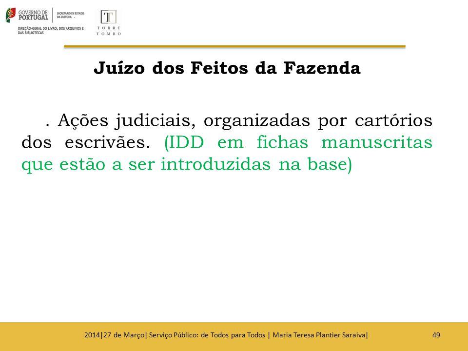 Juízo dos Feitos da Fazenda. Ações judiciais, organizadas por cartórios dos escrivães. (IDD em fichas manuscritas que estão a ser introduzidas na base