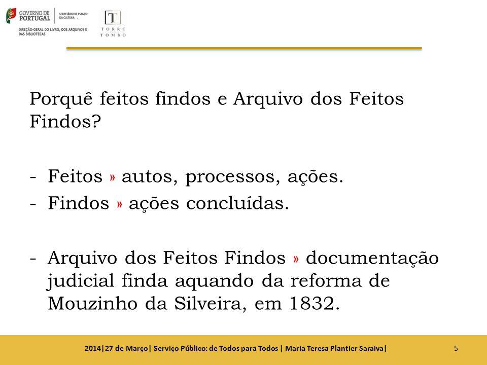 Porquê feitos findos e Arquivo dos Feitos Findos? -Feitos » autos, processos, ações. -Findos » ações concluídas. -Arquivo dos Feitos Findos » document