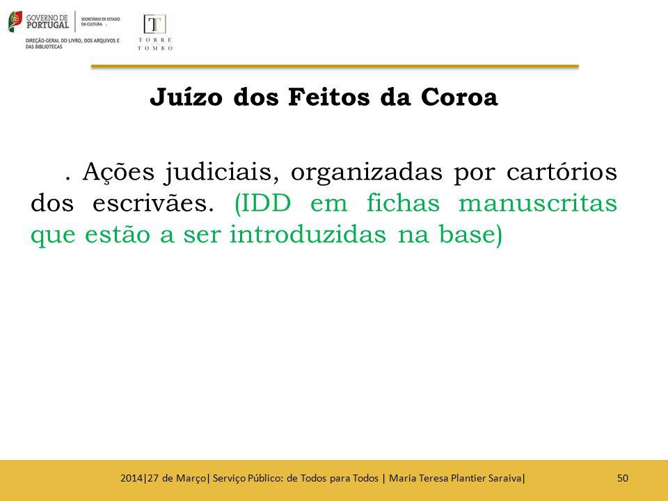 Juízo dos Feitos da Coroa. Ações judiciais, organizadas por cartórios dos escrivães. (IDD em fichas manuscritas que estão a ser introduzidas na base)
