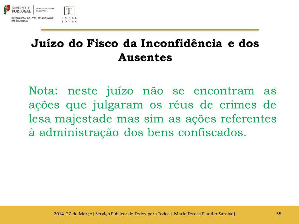 Juízo do Fisco da Inconfidência e dos Ausentes Nota: neste juízo não se encontram as ações que julgaram os réus de crimes de lesa majestade mas sim as