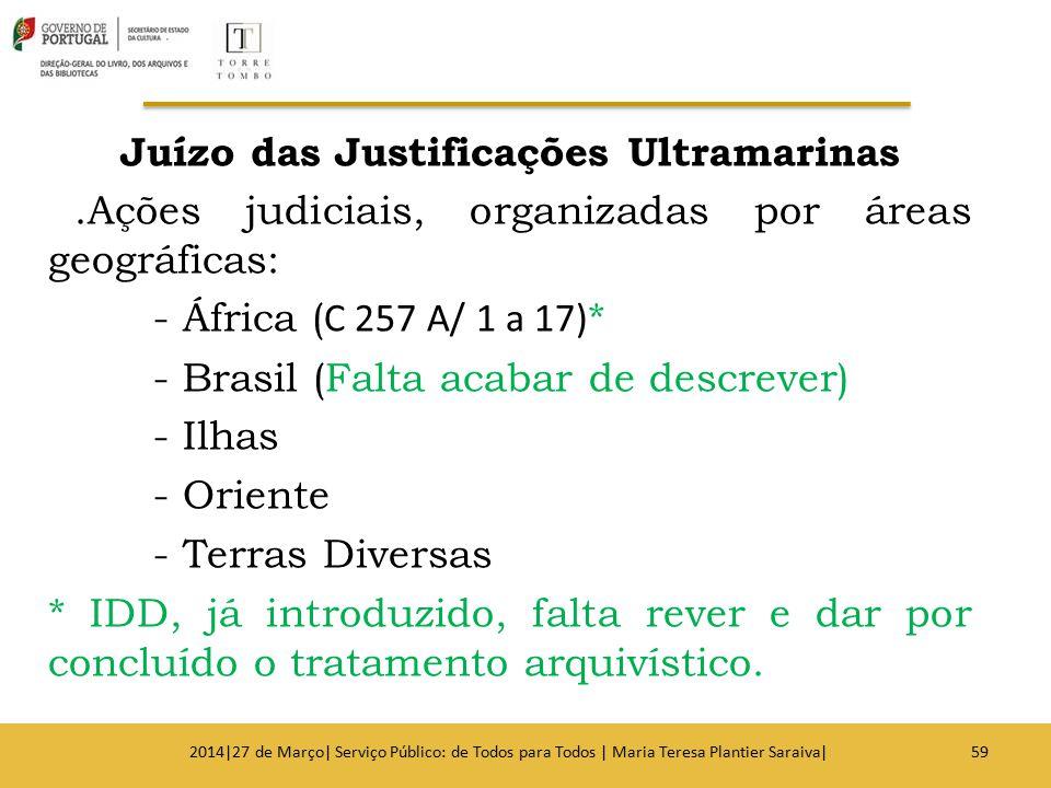 Juízo das Justificações Ultramarinas.Ações judiciais, organizadas por áreas geográficas: - África ( C 257 A/ 1 a 17) * - Brasil (Falta acabar de descr