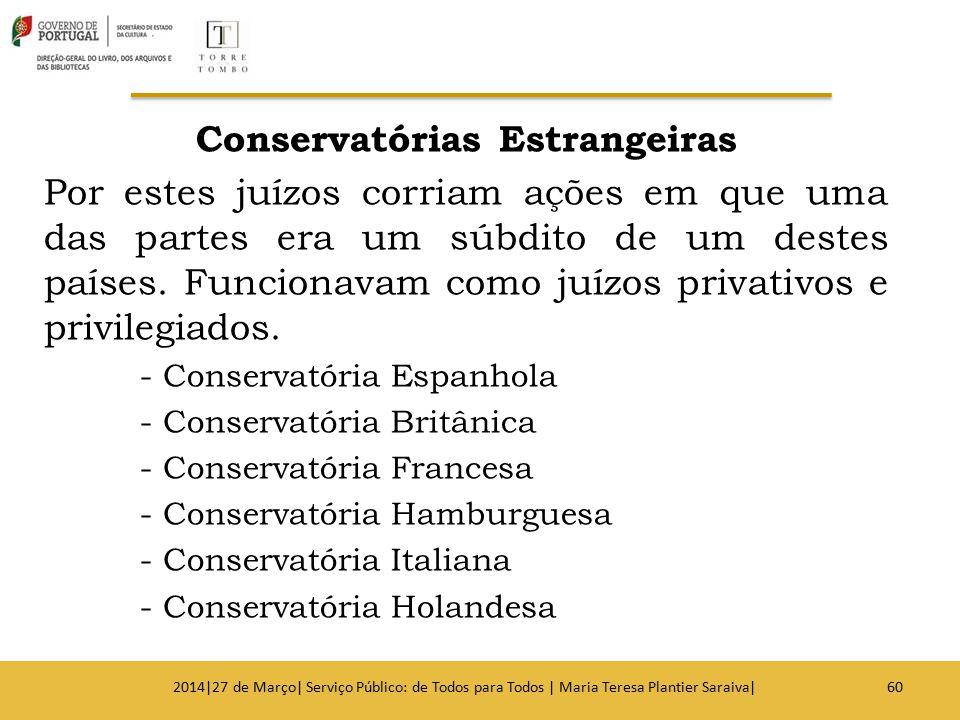 Conservatórias Estrangeiras Por estes juízos corriam ações em que uma das partes era um súbdito de um destes países. Funcionavam como juízos privativo