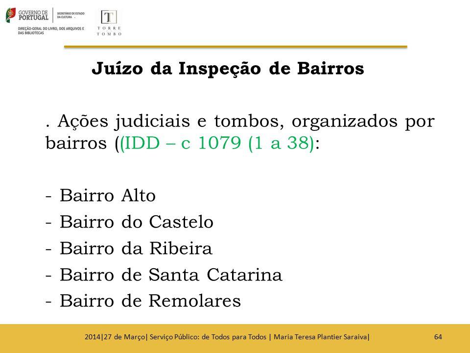 Juízo da Inspeção de Bairros. Ações judiciais e tombos, organizados por bairros ((IDD – c 1079 (1 a 38): -Bairro Alto -Bairro do Castelo -Bairro da Ri