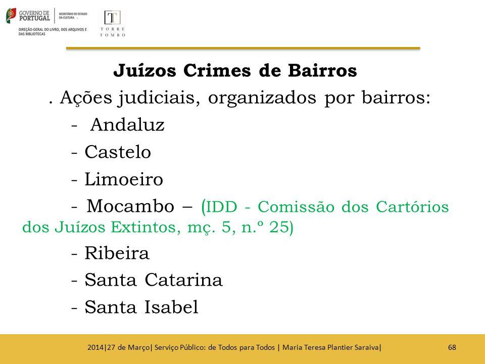 Juízos Crimes de Bairros. Ações judiciais, organizados por bairros: - Andaluz - Castelo - Limoeiro - Mocambo – ( IDD - Comissão dos Cartórios dos Juíz