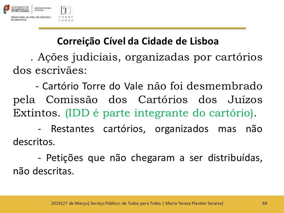 Correição Cível da Cidade de Lisboa. Ações judiciais, organizadas por cartórios dos escrivães: - Cartório Torre do Vale não foi desmembrado pela Comis