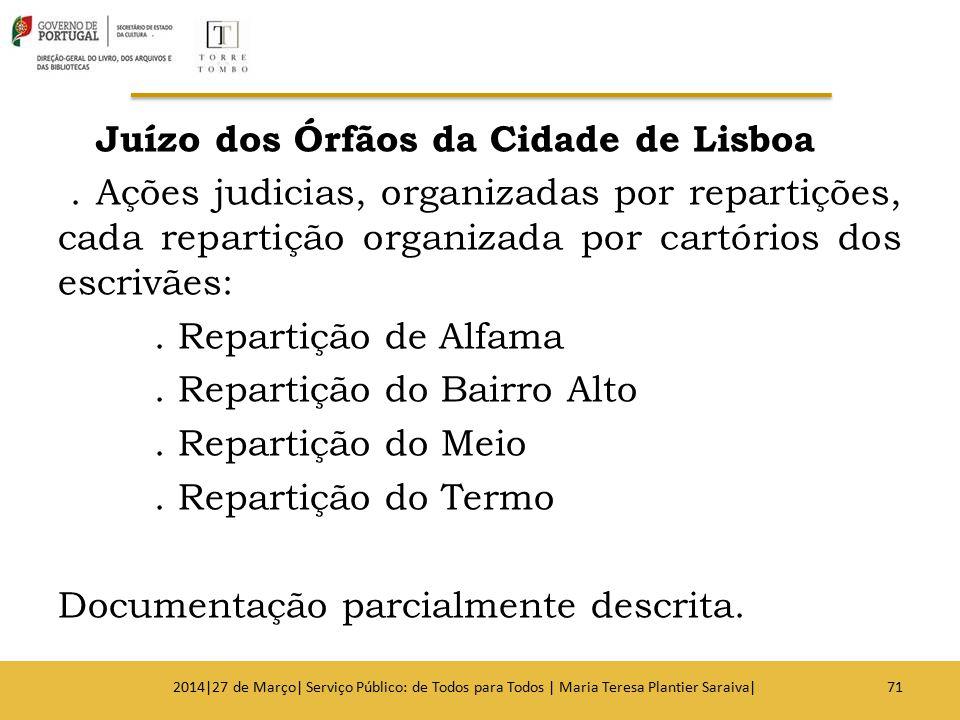 Juízo dos Órfãos da Cidade de Lisboa. Ações judicias, organizadas por repartições, cada repartição organizada por cartórios dos escrivães:. Repartição