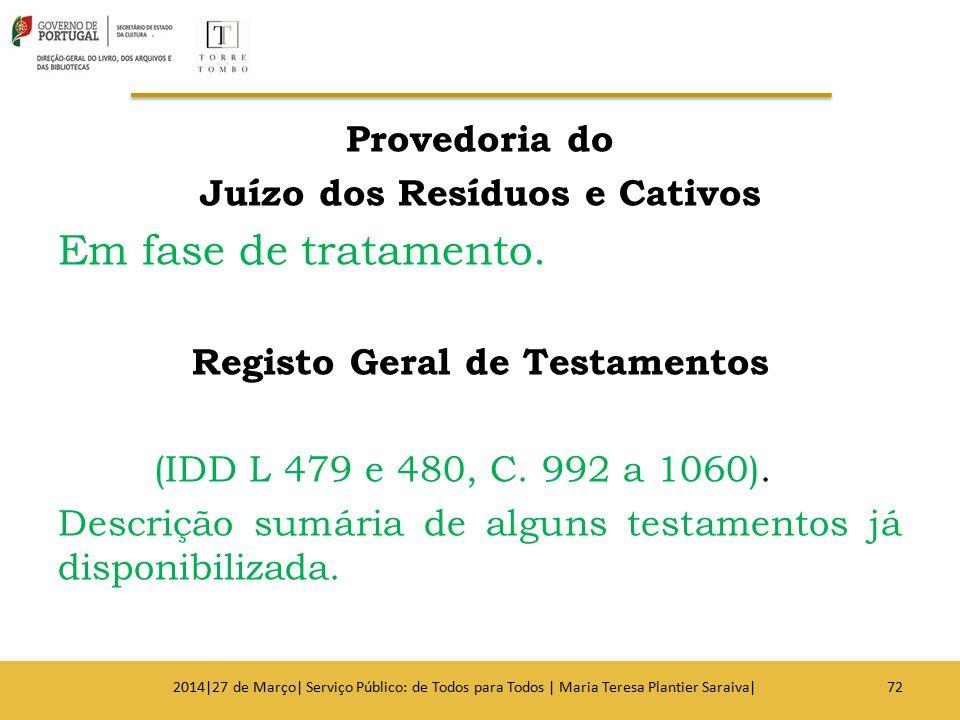 Provedoria do Juízo dos Resíduos e Cativos Em fase de tratamento. Registo Geral de Testamentos (IDD L 479 e 480, C. 992 a 1060). Descrição sumária de