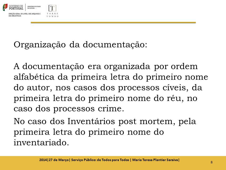 Organização da documentação: A documentação era organizada por ordem alfabética da primeira letra do primeiro nome do autor, nos casos dos processos c