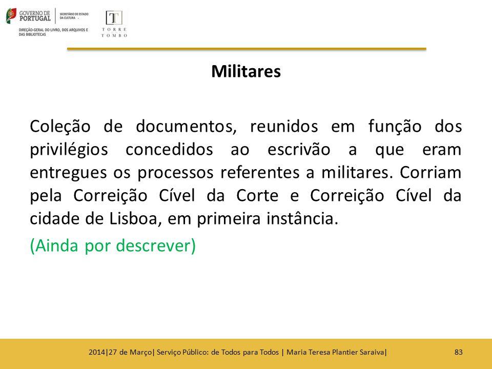 Militares Coleção de documentos, reunidos em função dos privilégios concedidos ao escrivão a que eram entregues os processos referentes a militares. C
