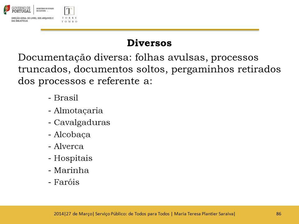 Diversos Documentação diversa: folhas avulsas, processos truncados, documentos soltos, pergaminhos retirados dos processos e referente a: - Brasil - A
