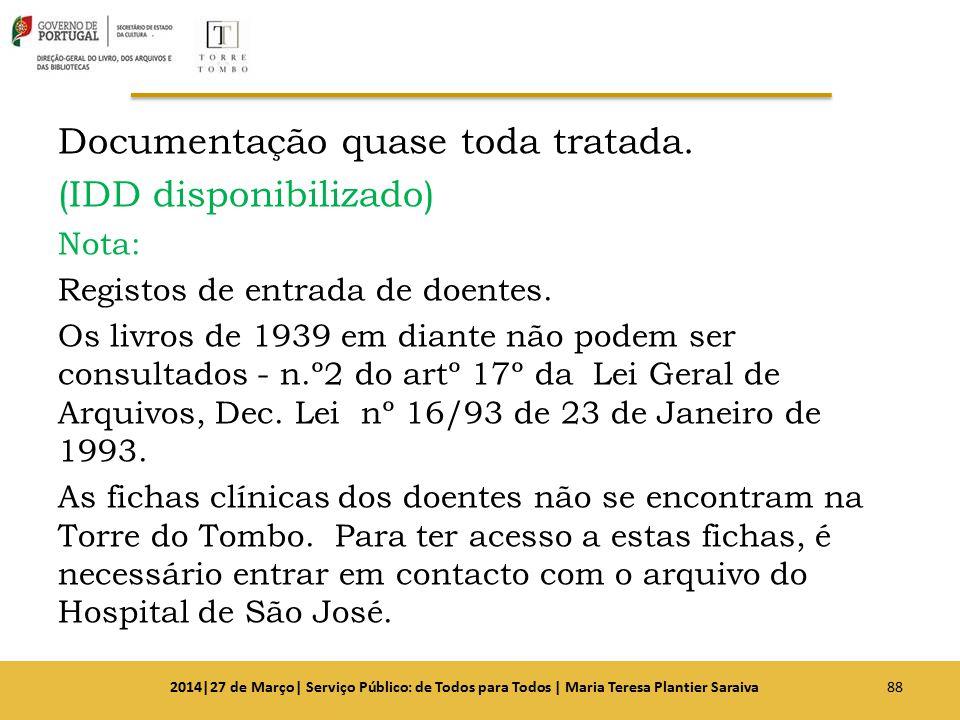 Documentação quase toda tratada. (IDD disponibilizado) Nota: Registos de entrada de doentes. Os livros de 1939 em diante não podem ser consultados - n