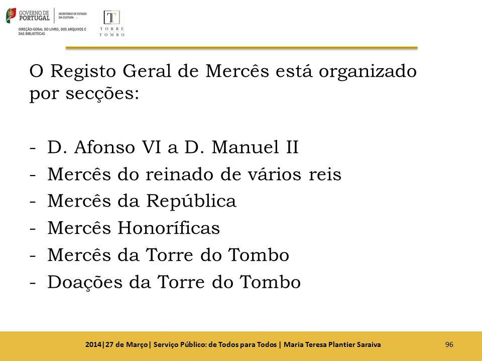 O Registo Geral de Mercês está organizado por secções: -D. Afonso VI a D. Manuel II -Mercês do reinado de vários reis -Mercês da República -Mercês Hon