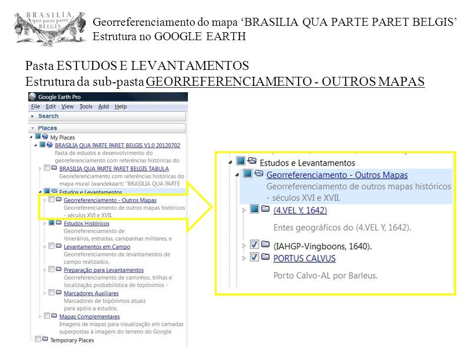 Georreferenciamento do mapa 'BRASILIA QUA PARTE PARET BELGIS' Estrutura no GOOGLE EARTH Pasta ESTUDOS E LEVANTAMENTOS Estrutura da sub-pasta GEORREFER