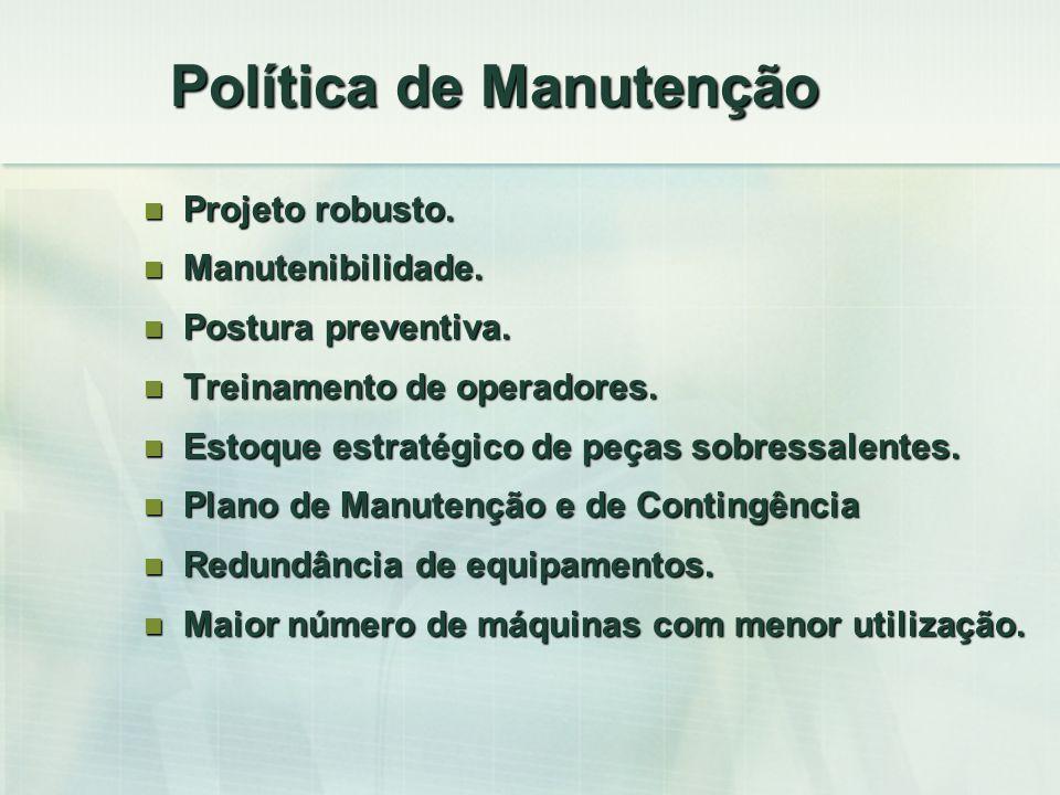 Política de Manutenção Projeto robusto. Projeto robusto. Manutenibilidade. Manutenibilidade. Postura preventiva. Postura preventiva. Treinamento de op