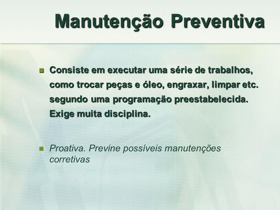 Manutenção Preventiva Consiste em executar uma série de trabalhos, como trocar peças e óleo, engraxar, limpar etc. segundo uma programação preestabele