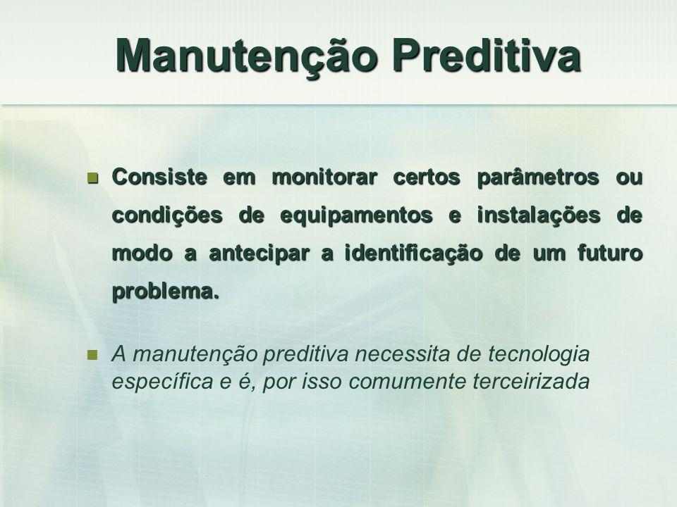 Manutenção Preditiva Consiste em monitorar certos parâmetros ou condições de equipamentos e instalações de modo a antecipar a identificação de um futu