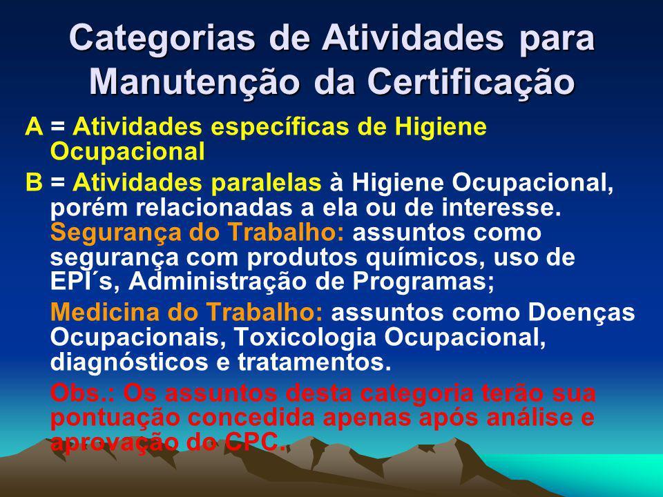 Categorias de Atividades para Manutenção da Certificação A = Atividades específicas de Higiene Ocupacional B = Atividades paralelas à Higiene Ocupacional, porém relacionadas a ela ou de interesse.