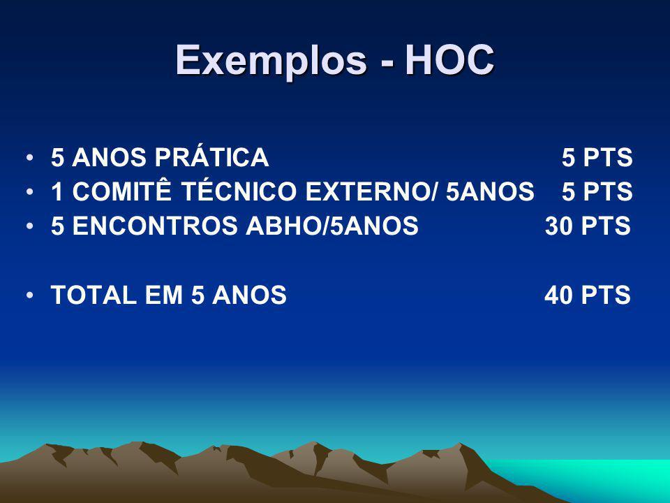 Exemplos - HOC 5 ANOS PRÁTICA5 PTS 1 COMITÊ TÉCNICO EXTERNO/ 5ANOS5 PTS 5 ENCONTROS ABHO/5ANOS 30 PTS TOTAL EM 5 ANOS 40 PTS